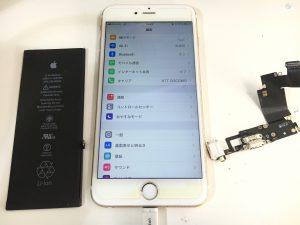 バッテリーと充電口修理後のiphone6splus