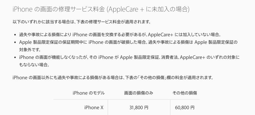 保証に入っていない状態でiPhoneXの画面を割ってしまった場合
