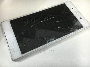 表面ガラス割れでタッチ切れのXperiaZ5(SO-01H)