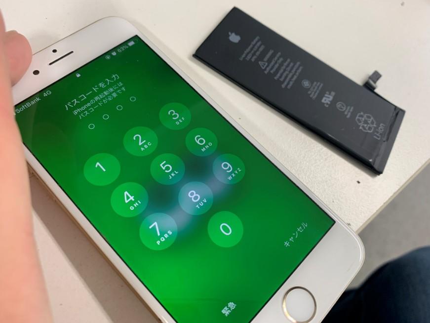 バッテリーを新品に交換したiPhone6