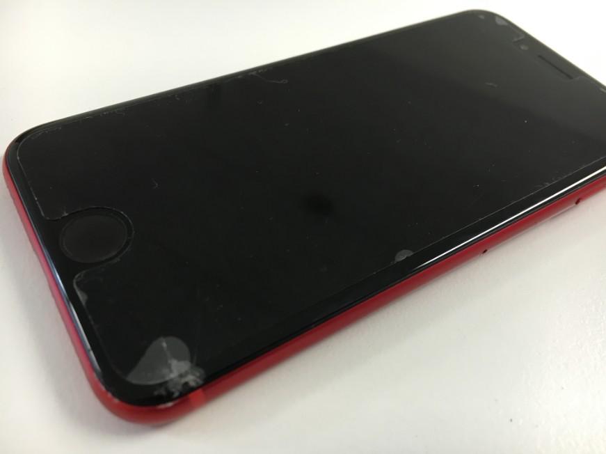 液晶画面の角が割れてしまったiPhone8
