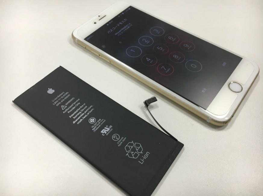 バッテリー交換修理が完了したiPhone6