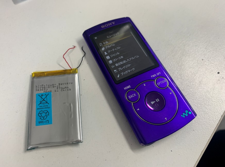 電池パックを新品に交換したNW-S764