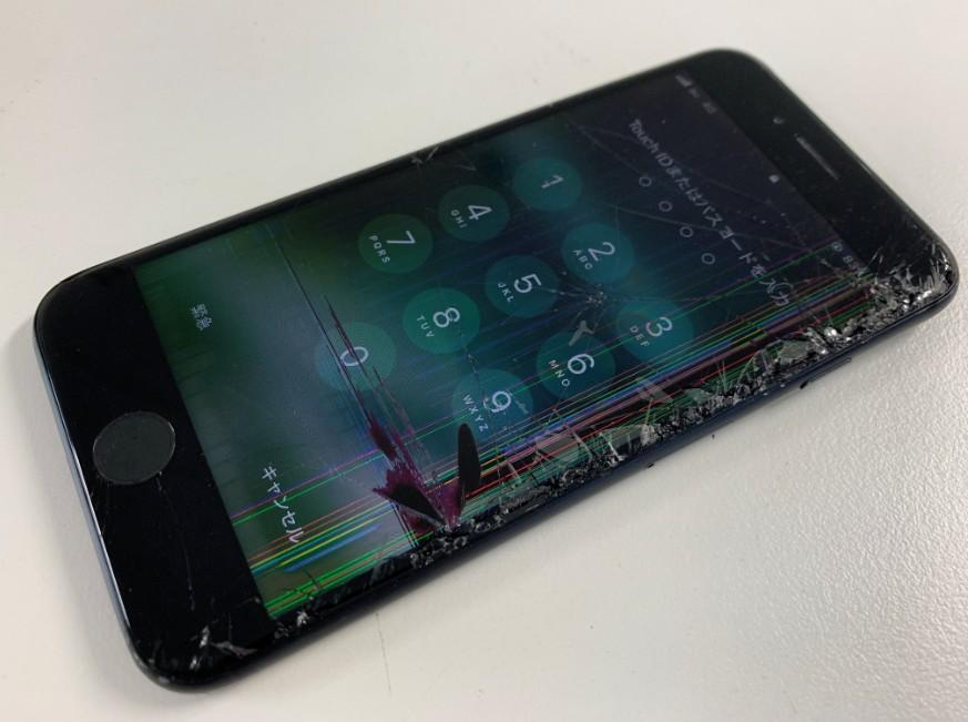 液晶画面を損傷してしまっているiPhone8