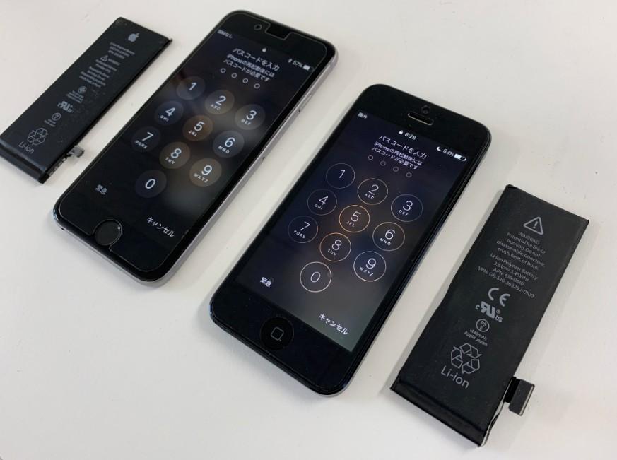バッテリー交換修理後のiPhone6とiPhone5