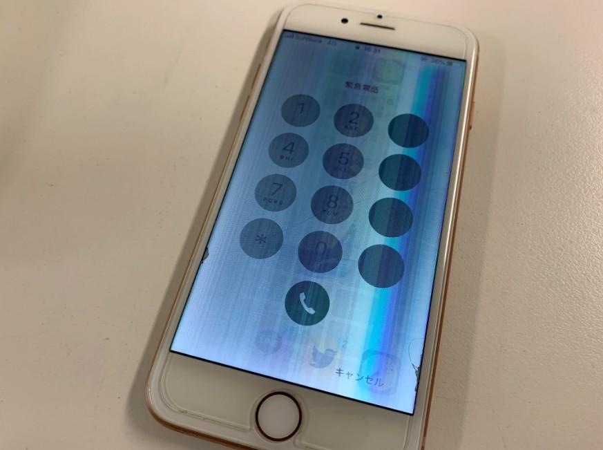 液晶画面が壊れて操作出来ないiPhone8
