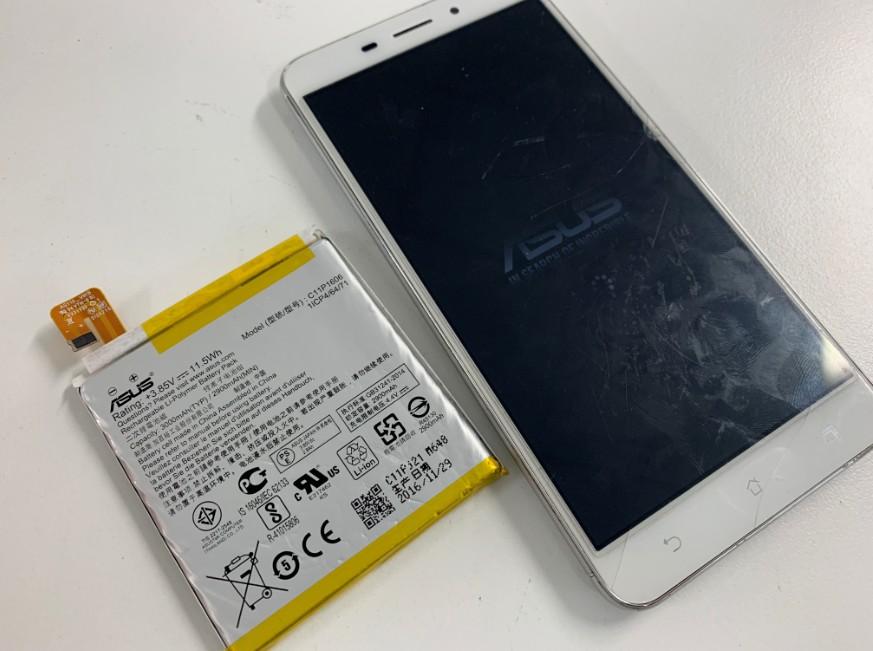 バッテリーを新品に交換したZenfone3 Laser(ZC551KL)