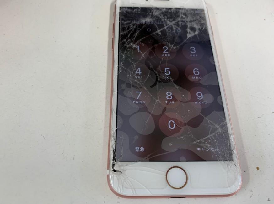 液晶画面がひび割れているiPhone7