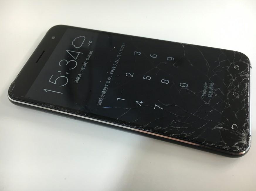 表面ガラスが割れたZenfone3(Z017D)