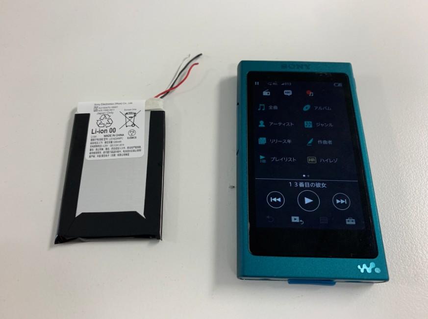 バッテリーを新品に交換したNW-A37