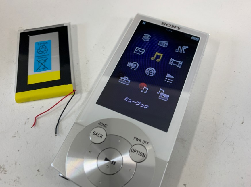 電池パックを新品に交換したNW-A855