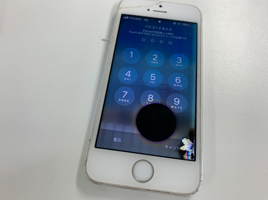 画面の一部が液漏れしているiPhoneSE