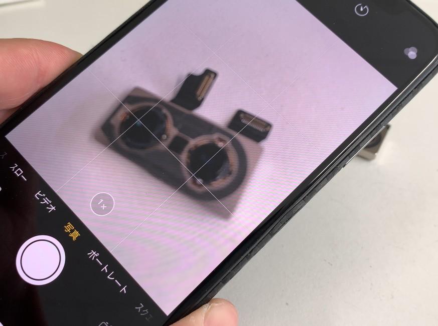 外カメラパーツ交換修理後のiPhone XS