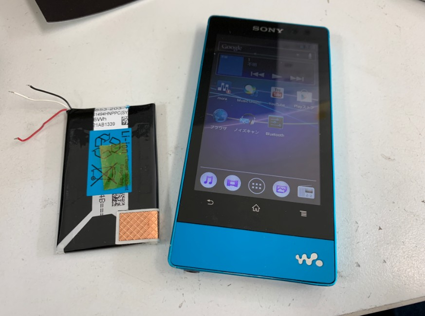 電池パック交換修理で電源が入るようになったNW-F807