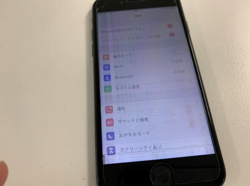 液晶画面が砂嵐のようになったiPhone7