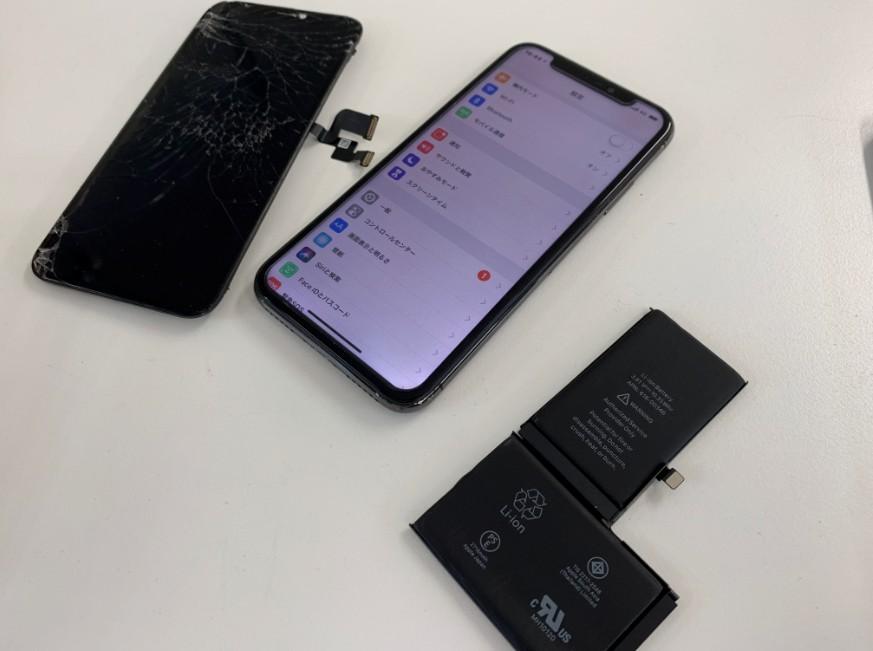 画面とバッテリーを交換したiPhoneX(テン)