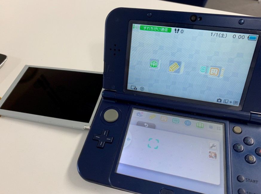 上液晶画面を交換修理したNew 3DS LL