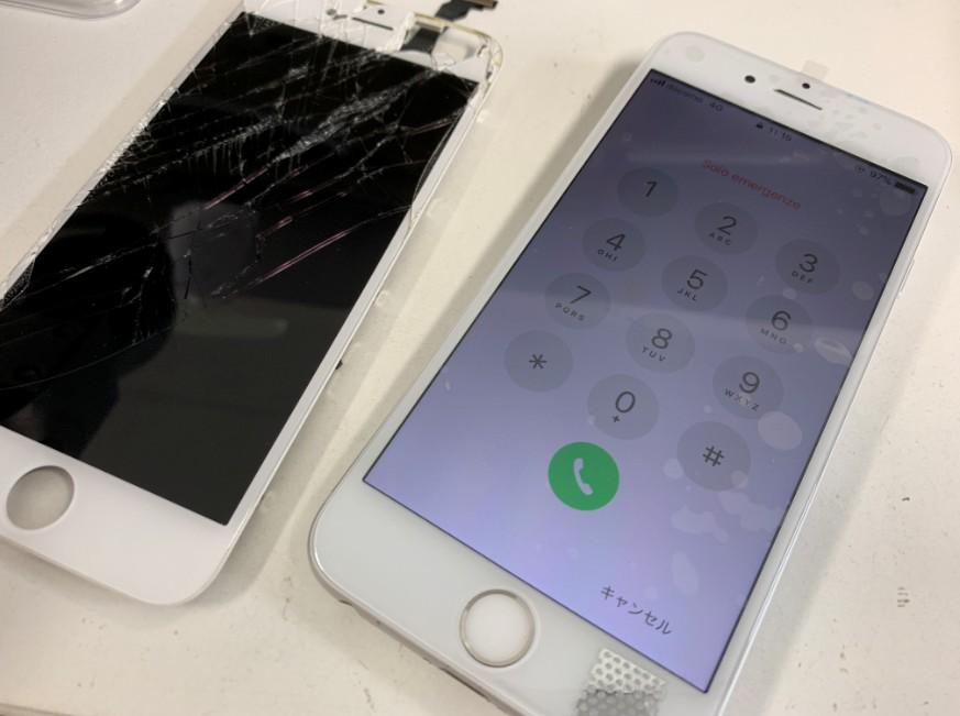 液晶画面交換修理後のアイフォン6