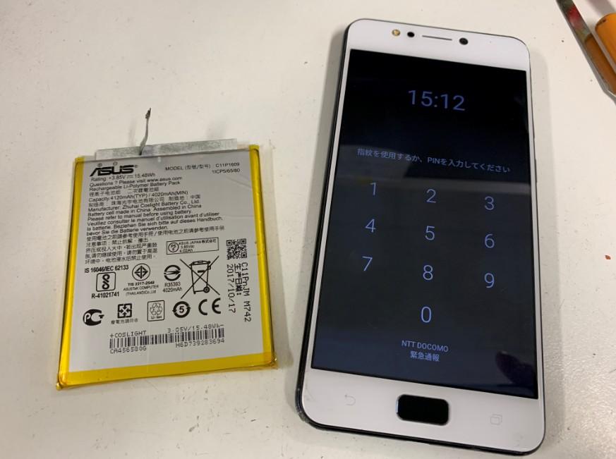 バッテリーを新品に交換したZenfone4Max(ZC520KL)
