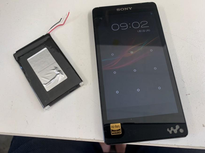 内蔵バッテリー交換修理後の充電持ちが大幅に改善したNW-F887