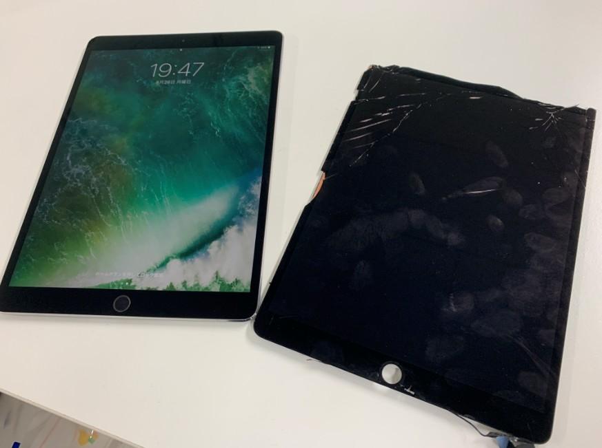 液晶画面交換修理後のガラスのヒビがキレイに無くなったiPad Pro 10.5インチ