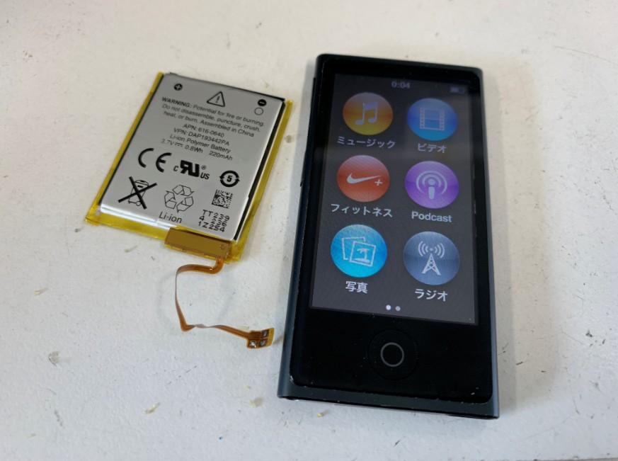 内蔵バッテリー交換修後の電源が入るようになったiPod nano7