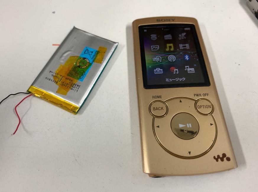 内蔵バッテリー交換作業完了後のNW-S764