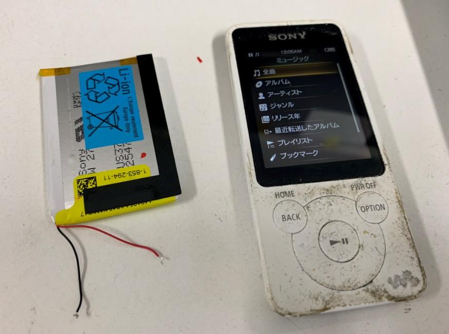 内蔵バッテリー交換修理後の充電持ちが大幅に向上したNW-S784