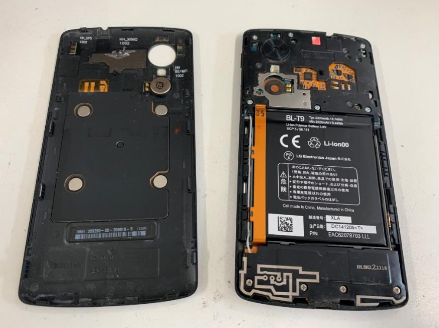 分解してバッテリー丸見えのネクサス5