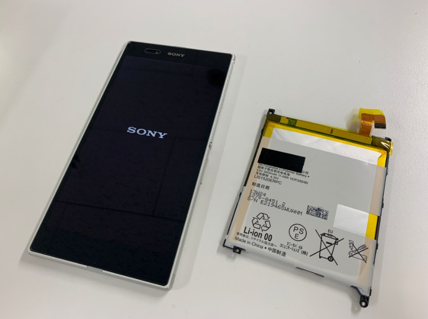 内蔵バッテリー交換修理後のXperia Z Ultra(SOK24)