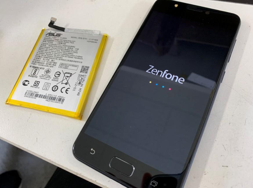 内蔵バッテリー交換修理後のZenfone4Max(ZC520KL)
