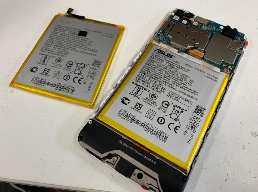 内蔵バッテリーを古い物を新品に交換したZenfone4Max(ZC520KL)