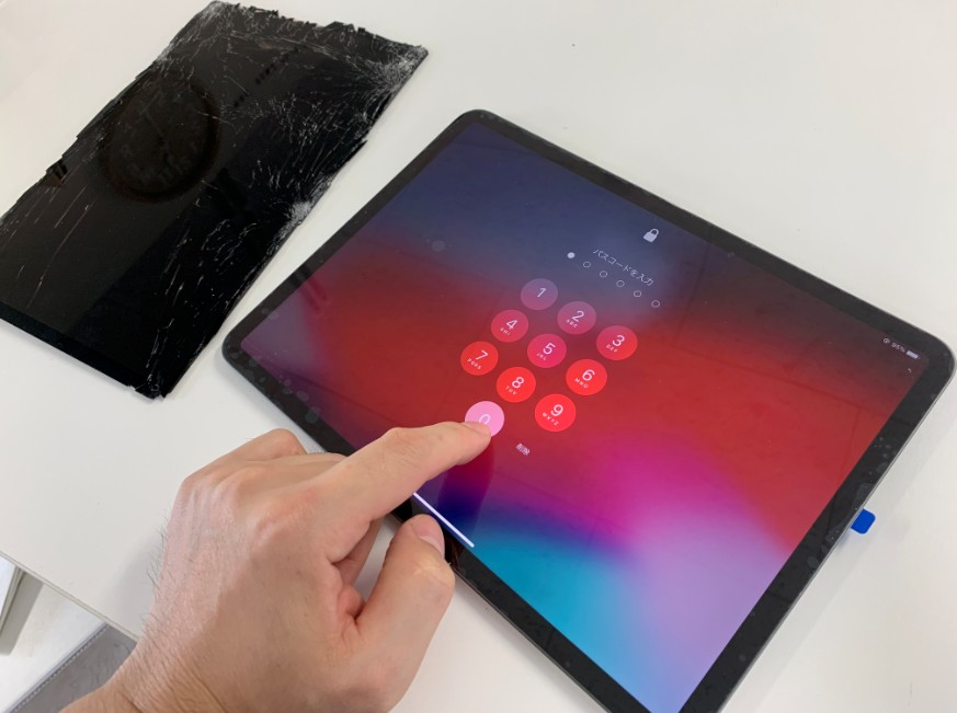 液晶画面交換修理後のiPad Pro11