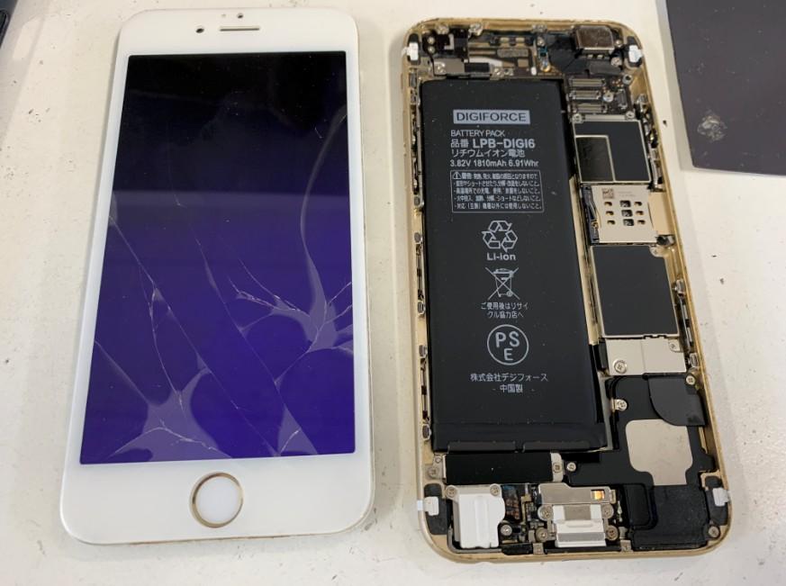 液晶画面を本体から剥がしたiPhone6