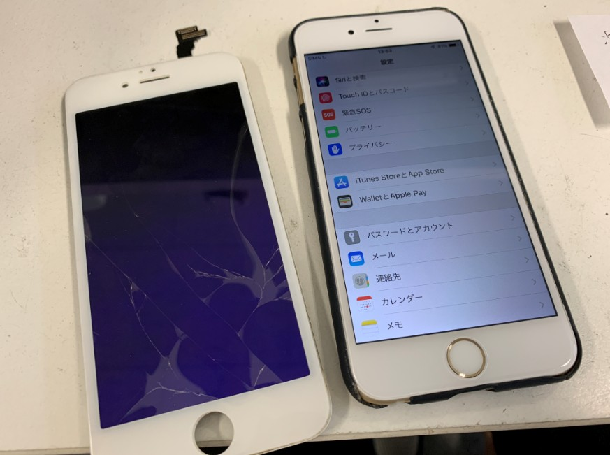 液晶画面交換修理後のキレイに表示されるようになったiPhone6