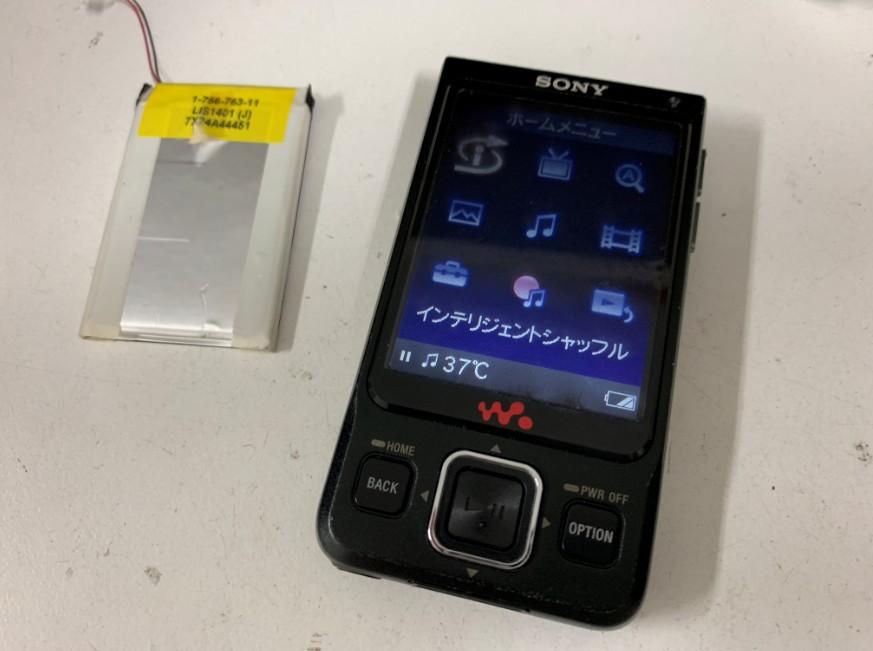 内蔵バッテリー交換修理後の電源が入るようになったNW-A918