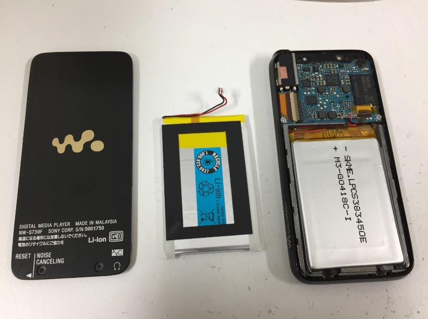 内蔵バッテリーを交換したウォークマン NW-S739F