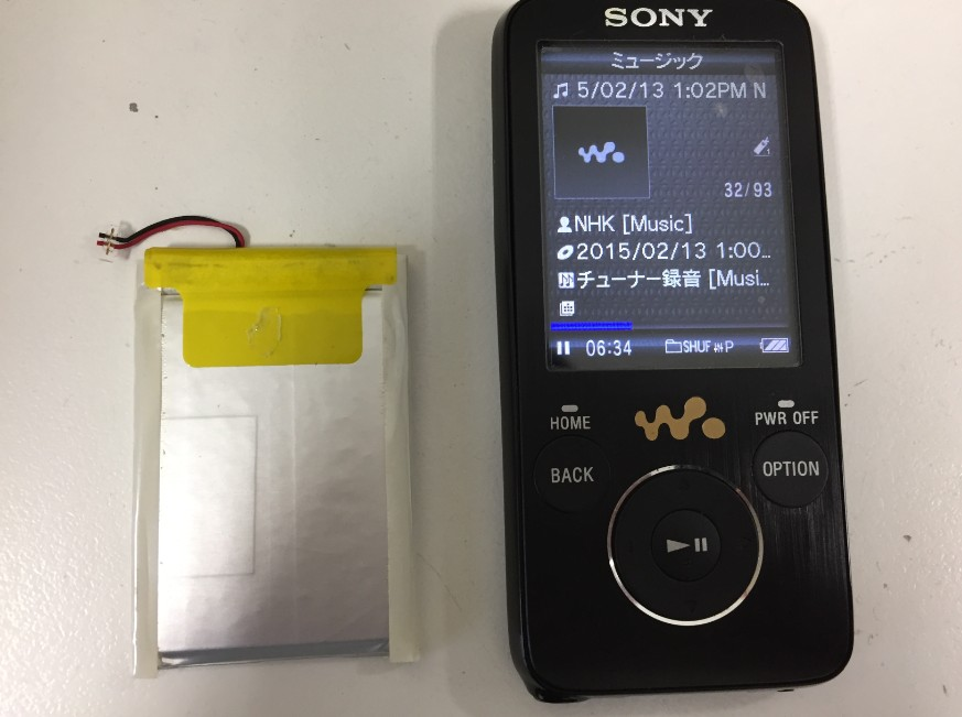 内蔵バッテリー交換で電源が入るようになったウォークマン NW-S739F