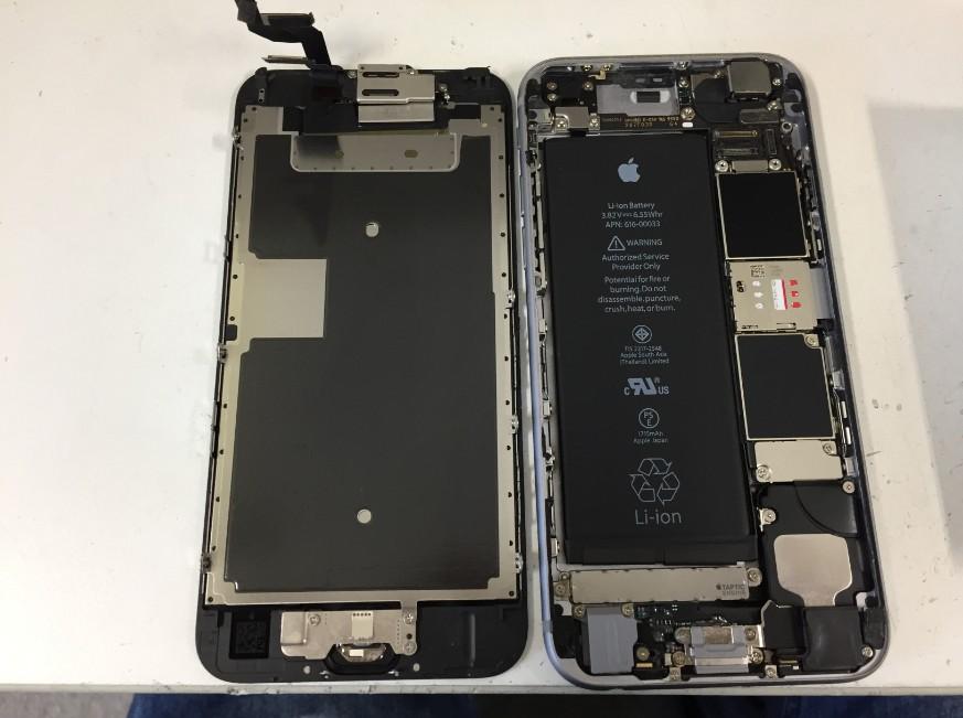 液晶画面を剥がしたiPhone6s