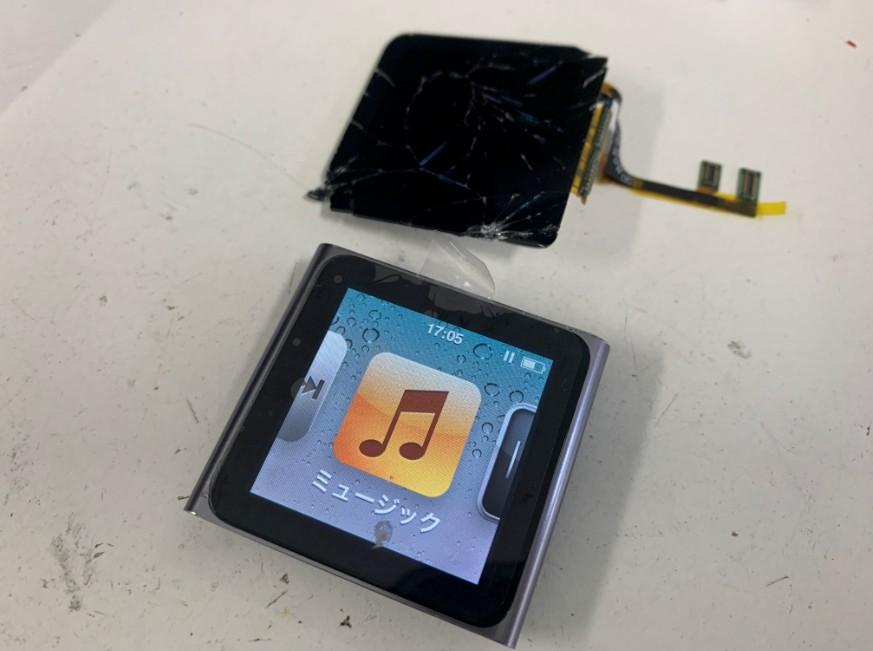 液晶画面交換修理後のiPod nano6