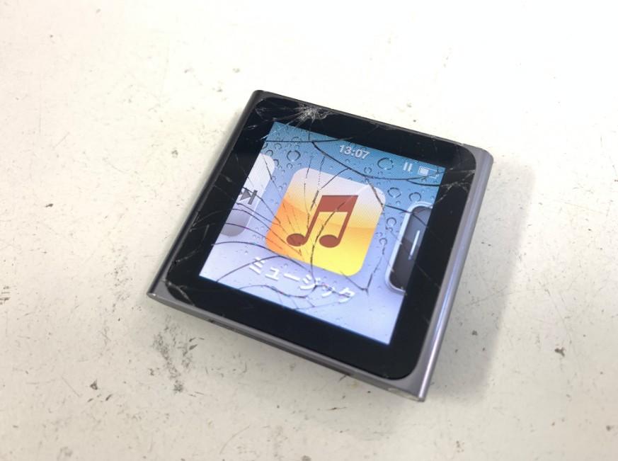 液晶画面が割れたiPod nano6