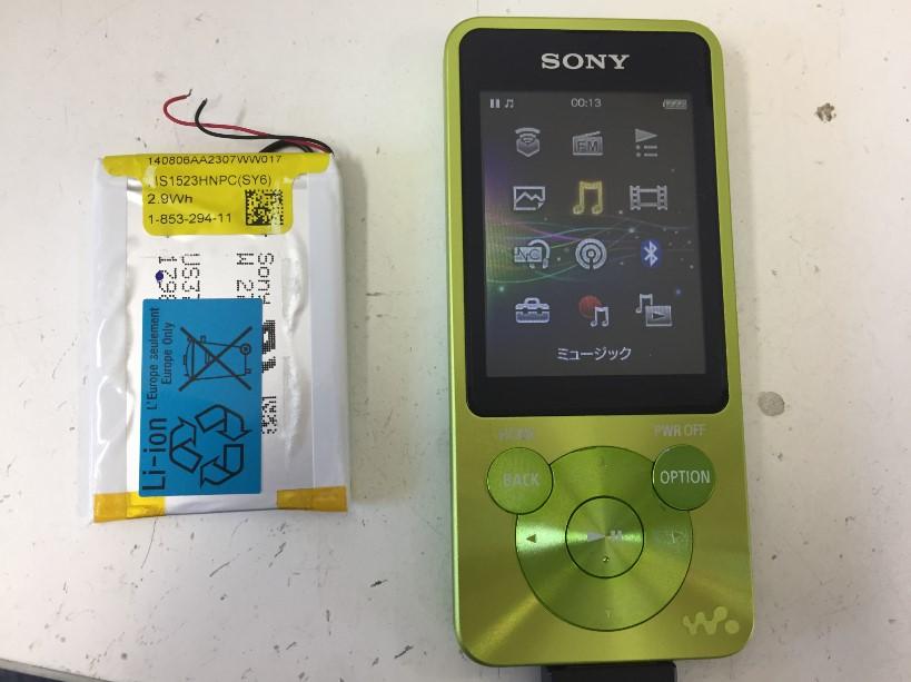 内蔵バッテリーを新品に交換したNW-E083