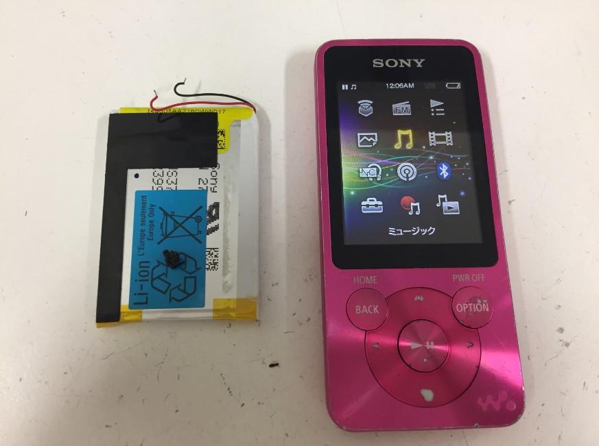 内蔵電池パック交換修理後のWALKMAN NW-S15