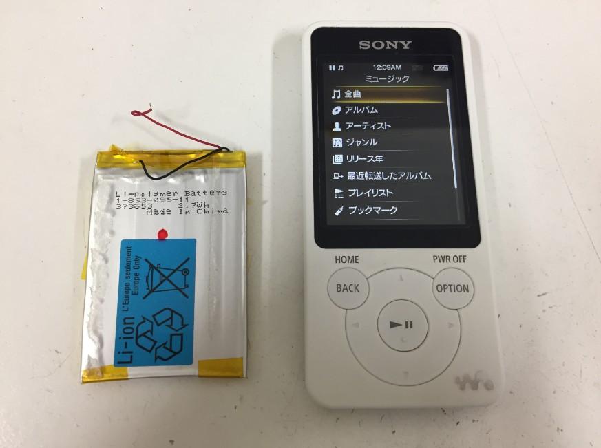 内蔵バッテリー交換修理後のNW-S784