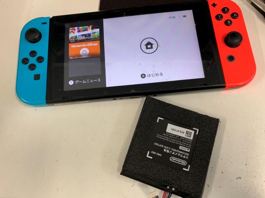 内蔵バッテリー交換修理後のNintendo Switch