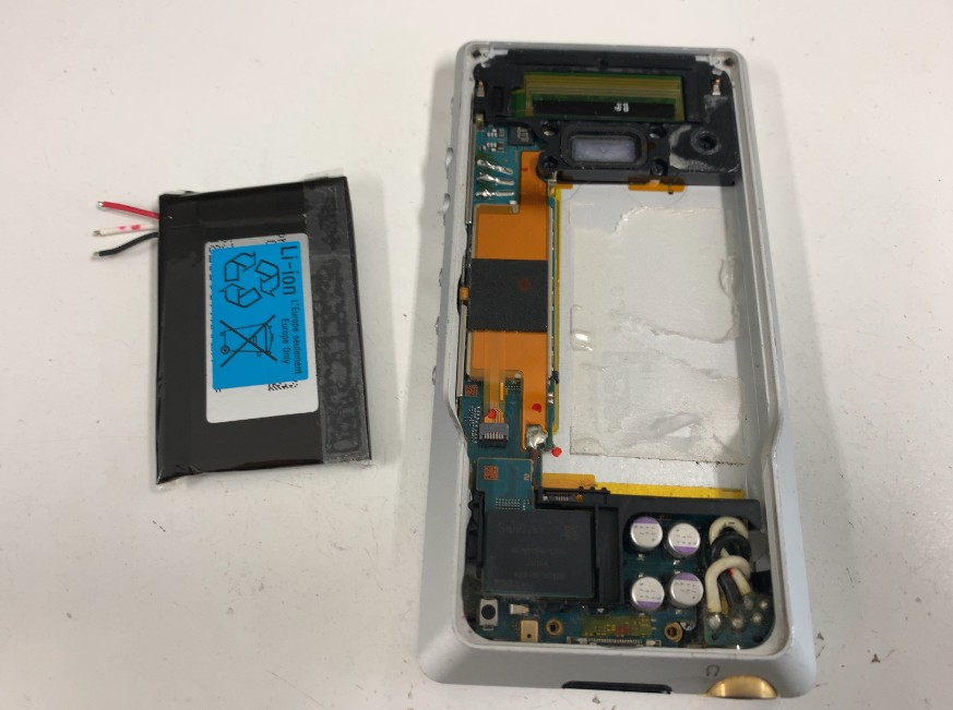 内蔵バッテリーを取り出したウォークマン NW-ZX1