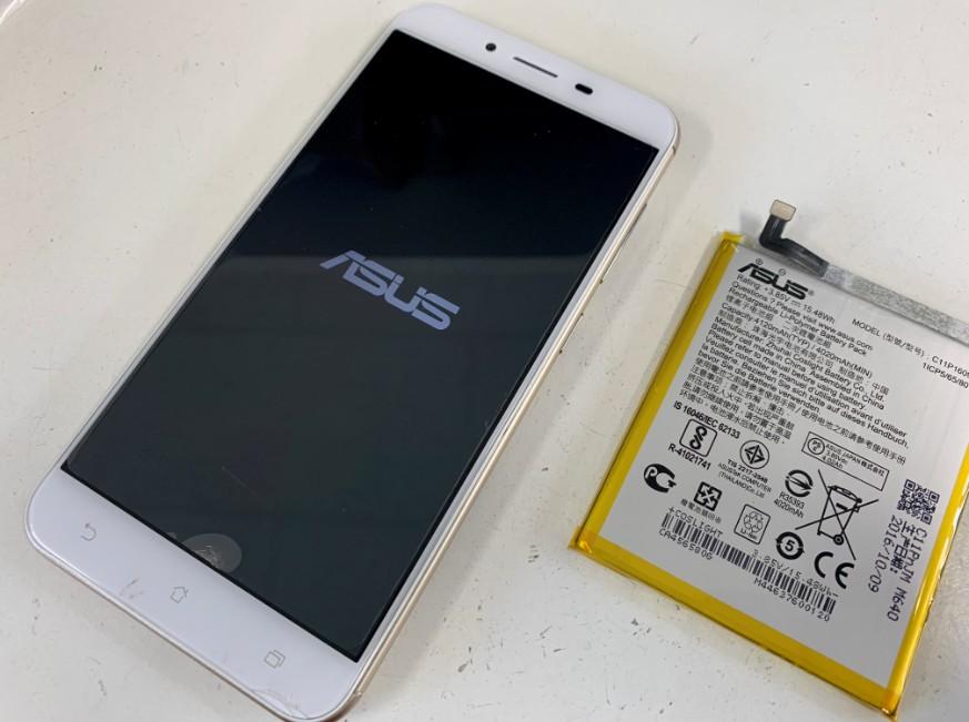 内蔵バッテリー交換修理後の充電持ちが改善したZenfoma3Max(ZC520TL)