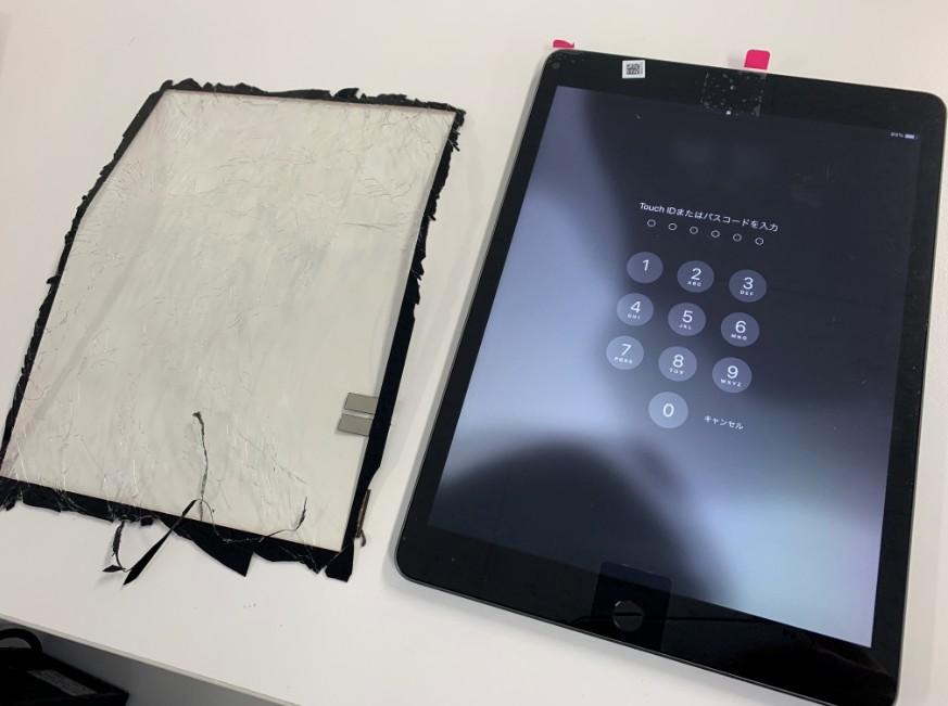 表面ガラス交換修理後のiPad7(2019)