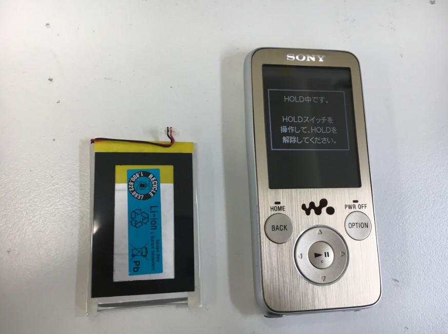 内蔵バッテリー交換修理後のNW-S739F