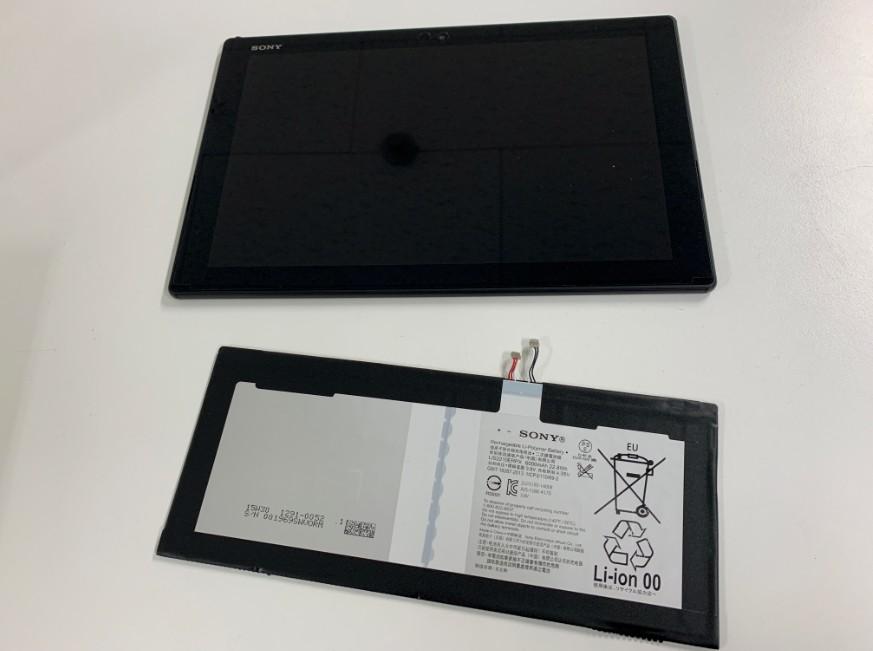 バッテリー交換修理後のXperiaZ4 Tablet